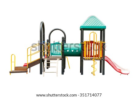 children playground on white isolated background with clipping path,Colorful playground isolated on white background - stock photo