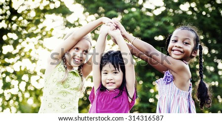 Children Playing Girls Togetherness Happiness Leisure Concept - stock photo