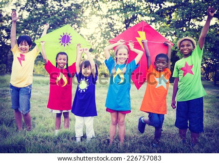 Children Playing Kite Happiness Bonding Friendship Concept - stock photo