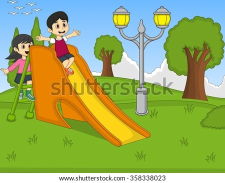children playing slide at the park cartoon - stock photo