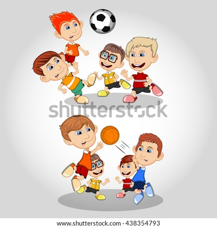 Children playing soccer and foot ball cartoon - stock photo