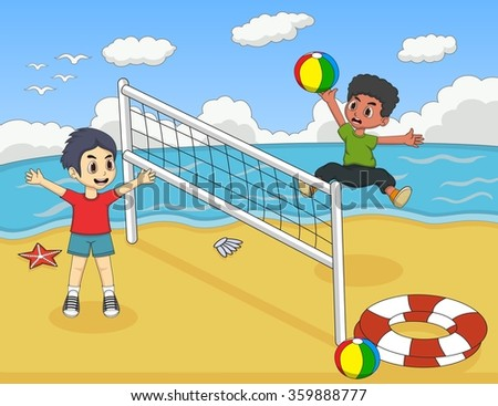 Children playing volleyball on the beach cartoon - stock photo
