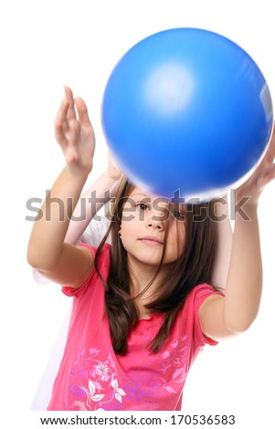 children playing with the big blue ball - stock photo