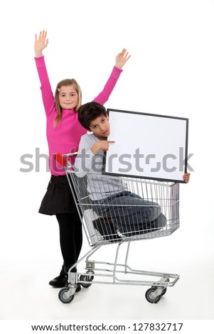 Children promoting a product - stock photo