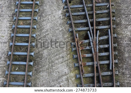 Children railroad, shot from above - stock photo