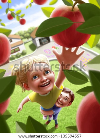 Children reaching for an apple - stock photo