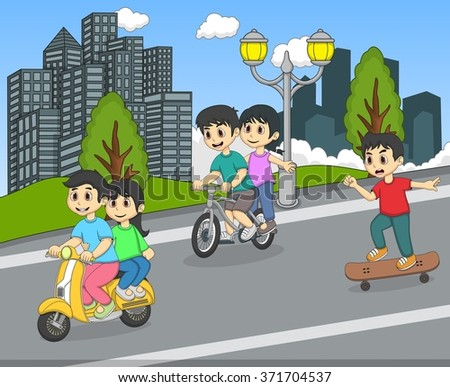 Children riding a scooter, bicycle and skateboard on the street cartoon - stock photo