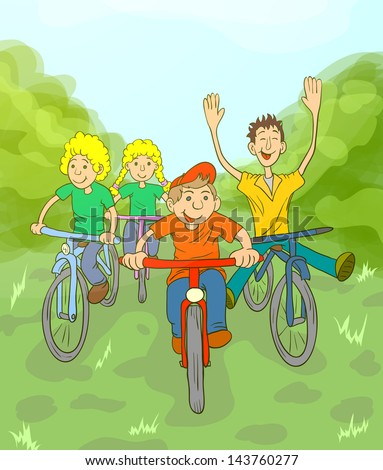 Children riding on bikes in the park. Children play in the fresh air. - stock photo
