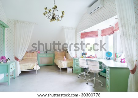 children room with two beds - stock photo