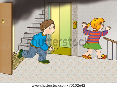 Children run out of the burning apartment and ran to the stairs past the elevator - stock photo
