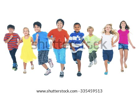 Children Running Playing Together Enjoyment Cute Concept - stock photo