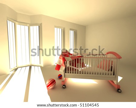 Children's bedroom. 3d - stock photo