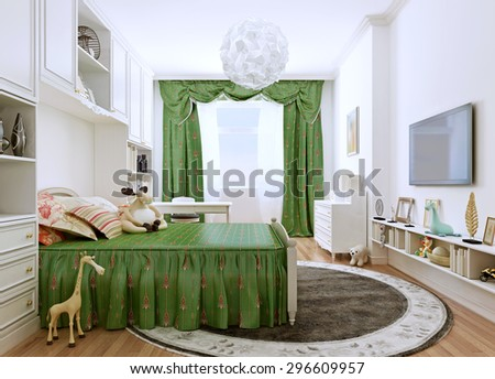 Children's bedroom in a classic style. Spacious room in bright summer colors. The contrast of white walls and furniture and bright green curtains and bed. 3D render - stock photo