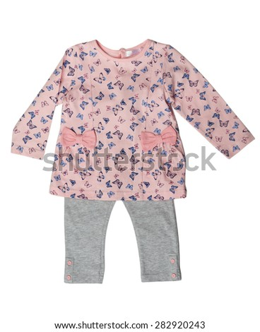 Children's clothing, pink sweater and gray pants. Isolate on white. - stock photo
