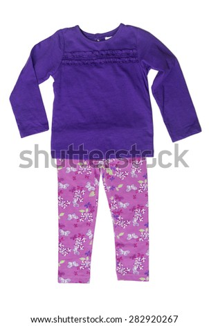 Children's clothing, purple sweater and pink pants. Isolate on white. - stock photo