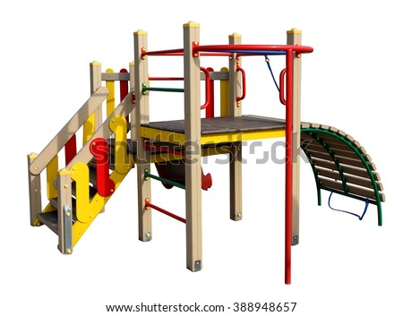 Children's empty mass production no name playground isolated. - stock photo