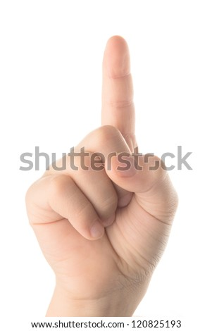 Children's finger pointing isolated on white background - stock photo