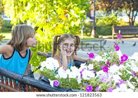 Children's first love - stock photo