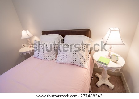 Children's girl's pink bedroom. Interior design. - stock photo