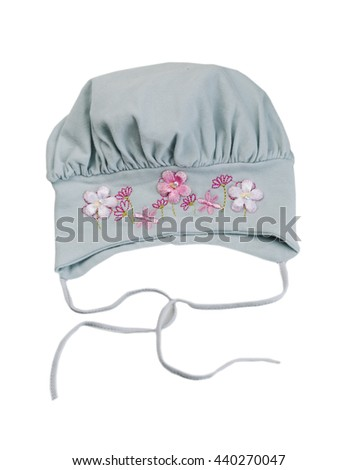 Children's gray hat with a flower pattern. Isolate on white. - stock photo