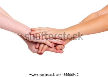 children's hands on the white background - stock photo