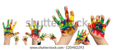 Children's hands painted with colorful paint. White isolated - stock photo