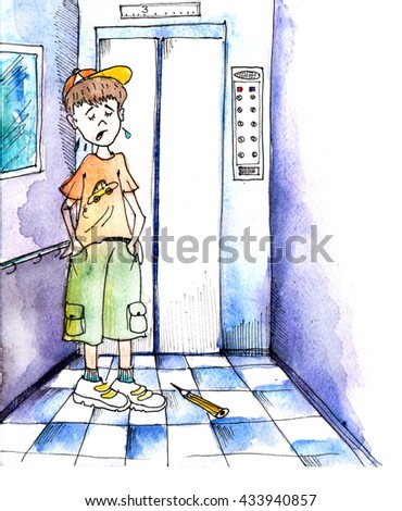 Children's illustration. The boy stuck in the elevator and crying. Watercolor, graphics - stock photo
