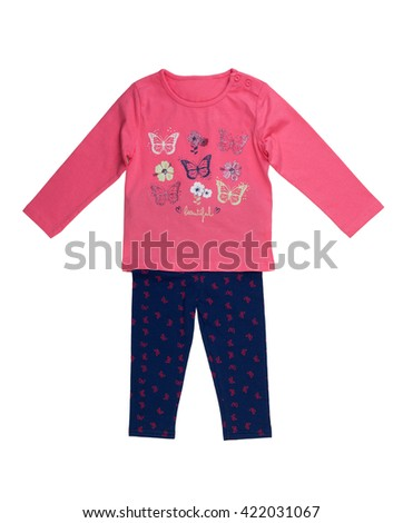 Children's jacket and pants set. Isolate on white. - stock photo