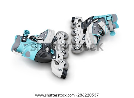 Children's new rollers isolated on white background. 3d illustration. - stock photo