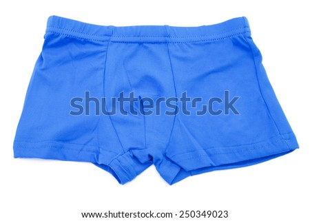 Children's orange swimming shorts isolated on white background with clipping path. - stock photo