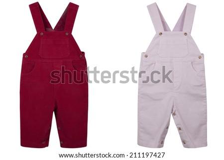 Children's overalls velveteen isolated on a white background - stock photo