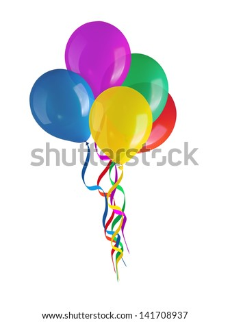 Children's party colorful balloons isolated on white background - stock photo