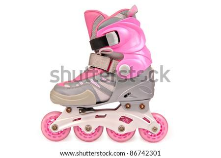 Children's roller skates. Isolated on the white - stock photo