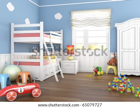 Children´s  room in blue walls with bunkbed and lots of toys on the floor - stock photo