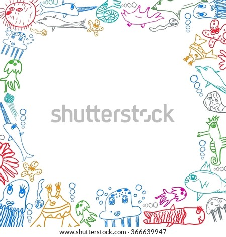 children's sea creatures square frame background isolated on white - stock photo