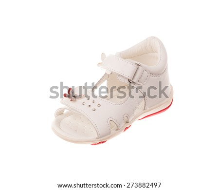 Children's shoe. Isolated on white background in the closeup.  - stock photo