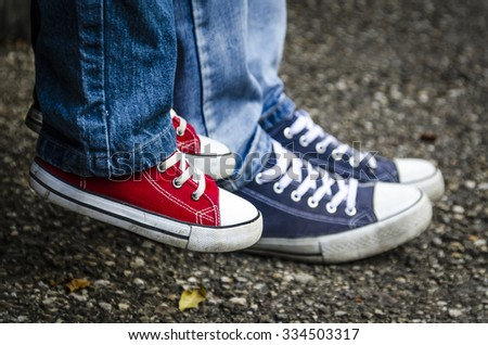 Children's shoes. Sneakers. - stock photo