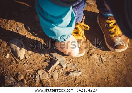 Children's shoes. Stylish childrens shoes. Fashion. Sneakers,horizontal photo - stock photo
