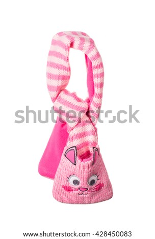 Children's striped muffler-kitten. Isolated on thr white background. - stock photo