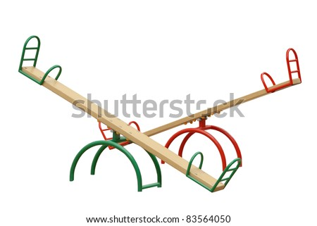 Children's swing is isolated on the white - stock photo