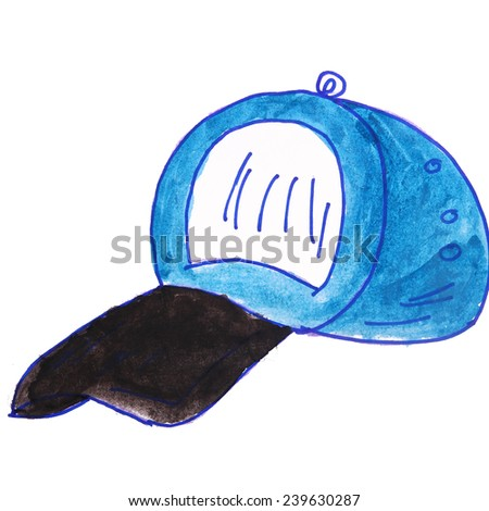 Children's watercolor drawing cartoon cap on a white background - stock photo