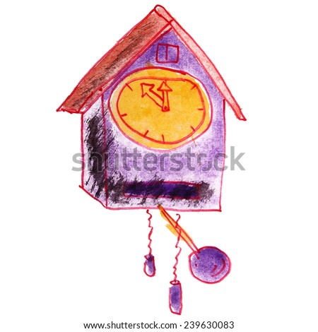 Children's watercolor drawing cartoon clock on a white background - stock photo