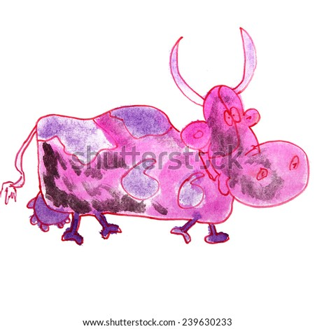 Children's watercolor drawing cartoon cow on a white background - stock photo
