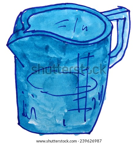 Children's watercolor drawing of a glass, measure cartoon on a white background - stock photo