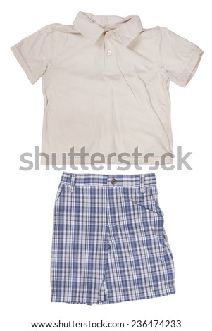 Children's wear - T-shirt and shirt isolated over white background - stock photo