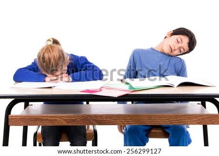 Children sleeping in the classroom - stock photo