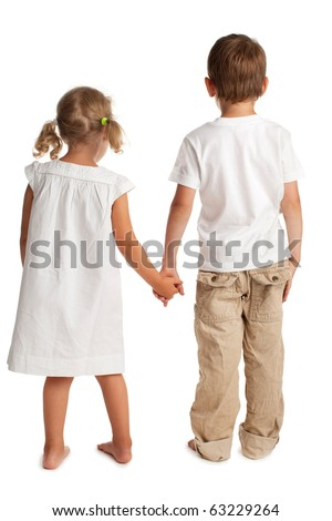 Children standing back isolated on white - stock photo