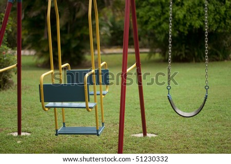children swing set - stock photo