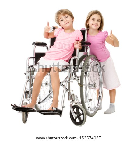 children thumbs ok in handicap positive image - stock photo