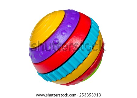 Children toy multicolored ball isolated on white background - stock photo